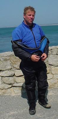 diver wearing a dry suit