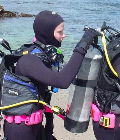 divers performing buddy check