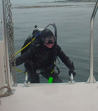 boat diver exiting the water