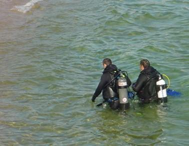 divers exiting water